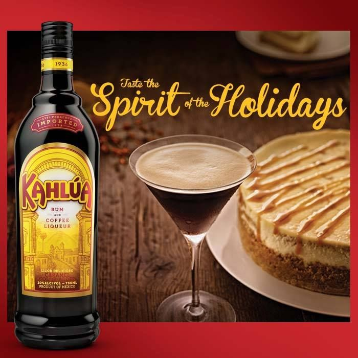 Serve our Espresso Martini this holiday season as the perfect complement to every Kahlúa inspired dessert,such as this delicioso Kahlúa Cheesecake.Feeling inspired?Enter our Pinterest Sweepstakes for the chance to win $5,000 to bring your perfect holiday to life.