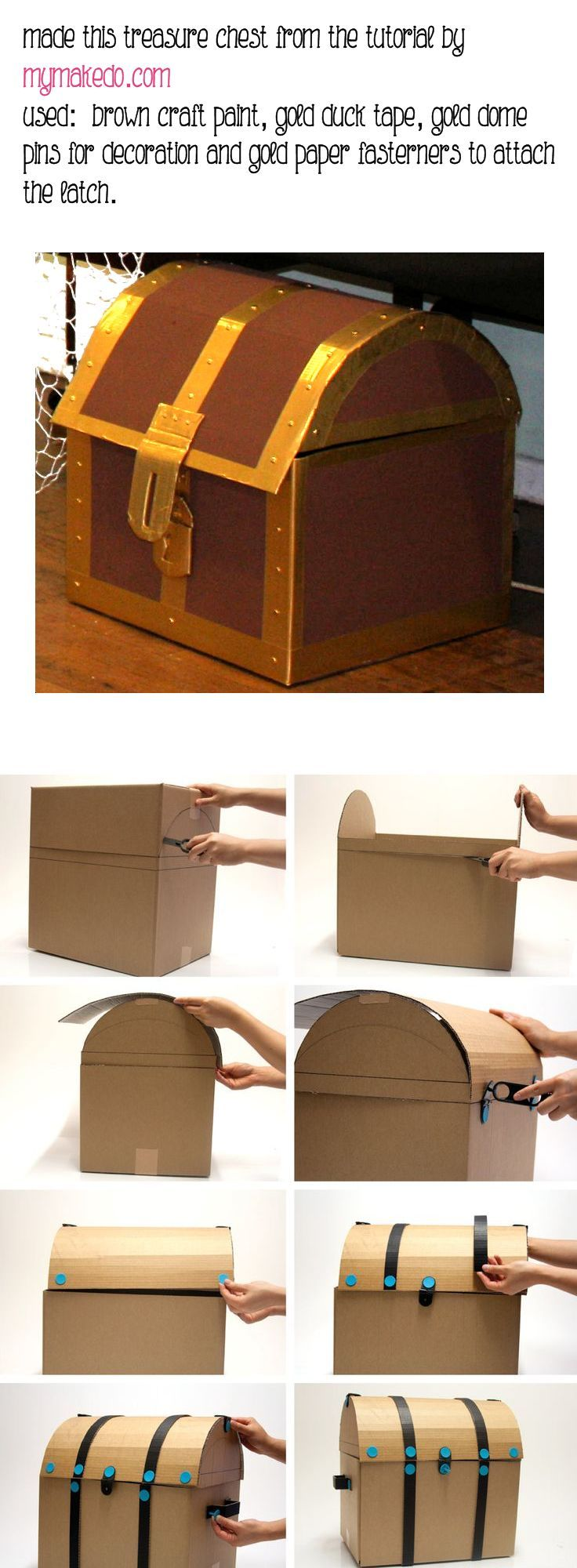 Treasure Chest Decorations Diy Cardboard Pirate Treasure Chest Crafts Pinterest Pirate