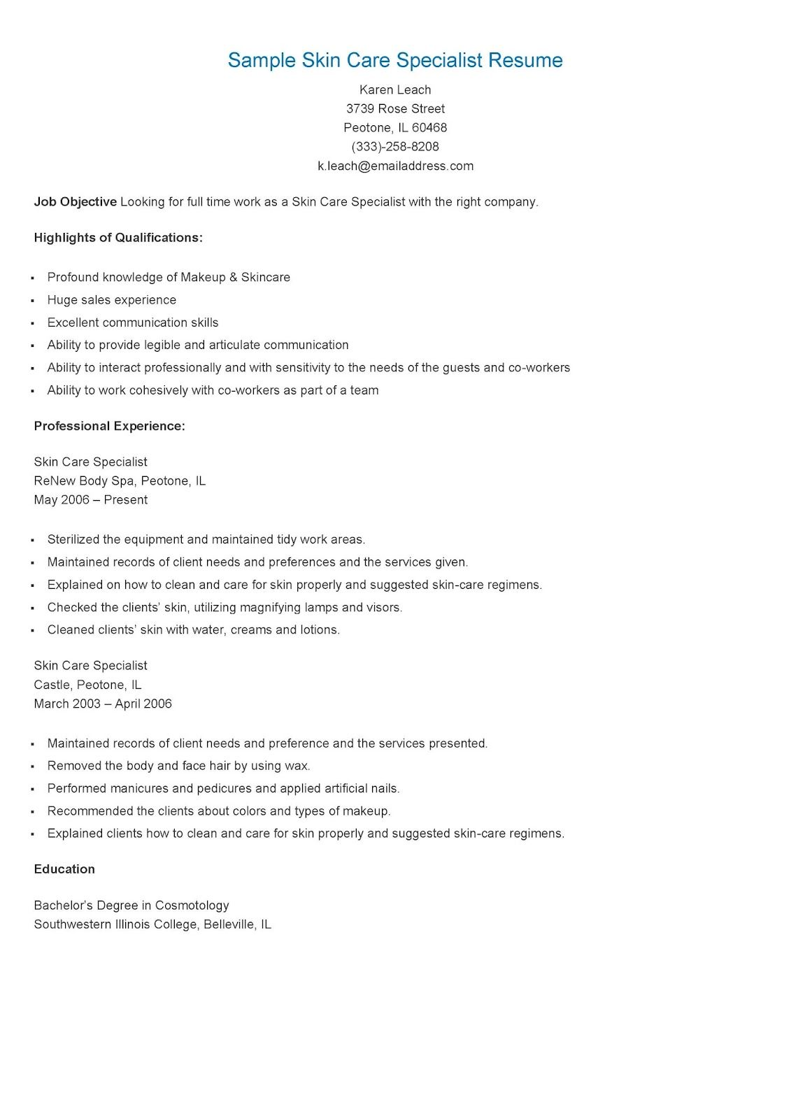 Sample Skin Care Specialist Resume  Resame    Skin