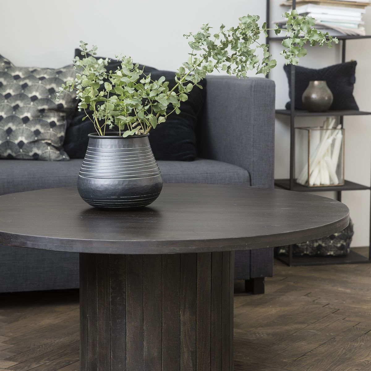 Pillar Black Wood Coffee Table House Doctor Woo Design Coffee Table Wood Black Round Dining Table Coffee Table [ 1200 x 1200 Pixel ]