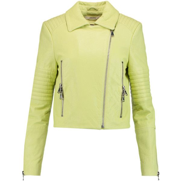 J Brand Aiah quilted leather biker jacket (2.295 RON) ❤ liked on Polyvore featuring outerwear, jackets, chartreuse, biker jacket, slim jacket, quilted leather biker jacket, quilted motorcycle jacket and moto jacket