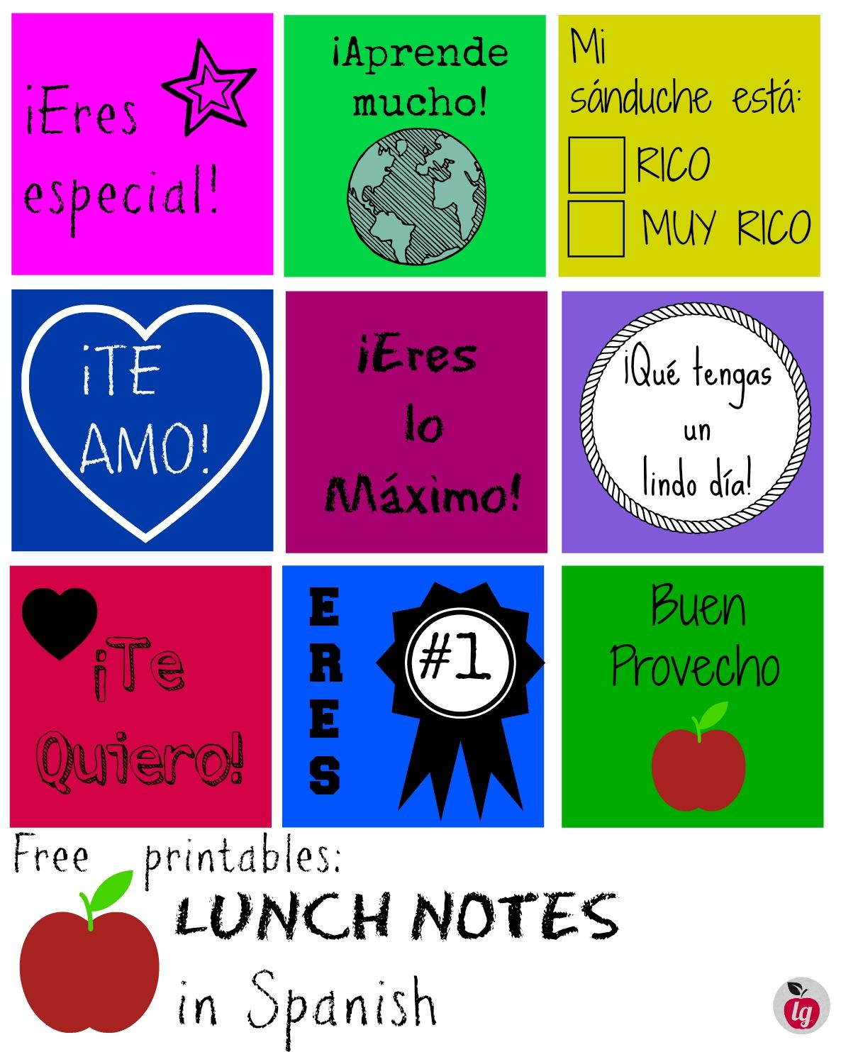 Free printables: lunch notes in Spanish