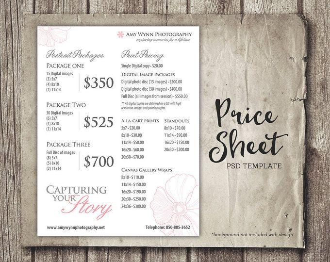 Price Sheet Photography Template - Photography Price List - Price Sheet Template