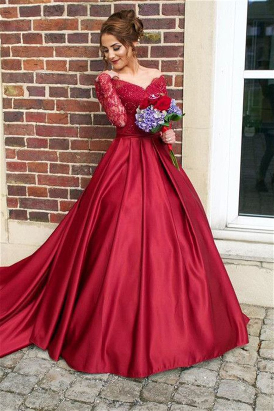 Ball gown offtheshoulder sweep train long sleeves burgundy satin