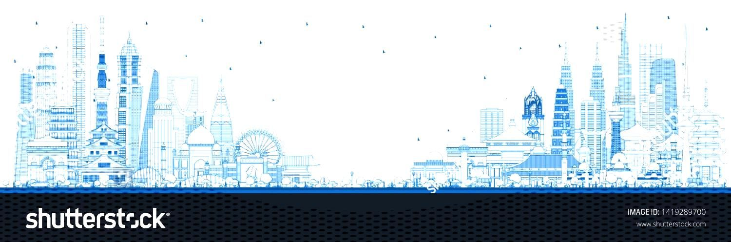 Outline Welcome to Asia Skyline with Blue Buildings. Tourism Concept with Historic Architecture. As