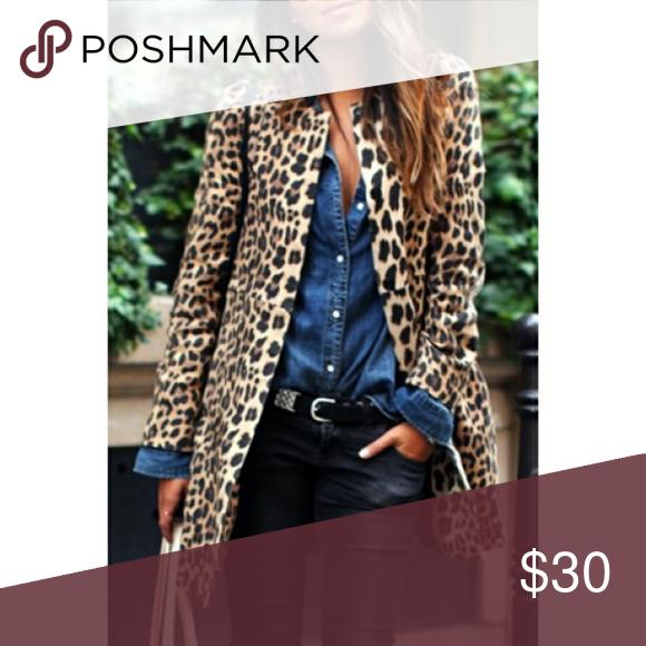 Chic Women's Jewel Neck Leopard Long Sleeve Coat Coat Jackets & Coats Blazers