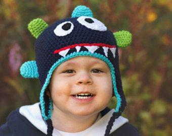 Monster hat, Boy Crochet little monster,  Bug eyed Monster Crochet childrens hat,