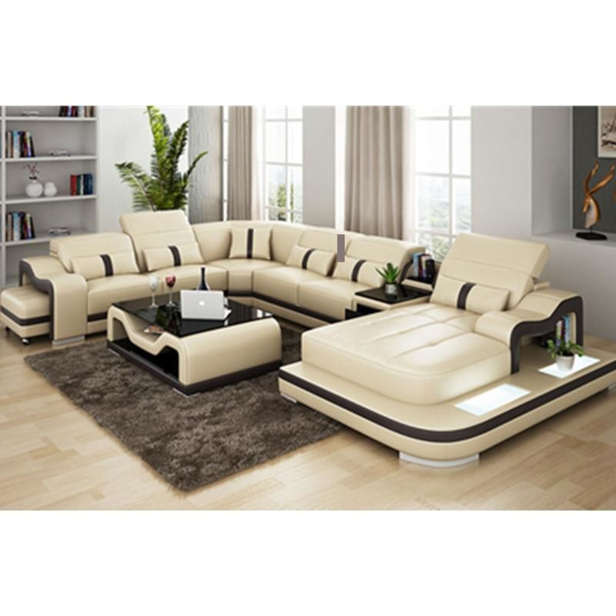 Leisure Style Luxury Sectional Sofa With Coffee Table For Home Furniture Living Room Sofa Design Corner Sofa Design Leather Sofa