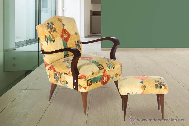 Sillón con reposapiés de los años 50. Armchair with footstool 50s ...