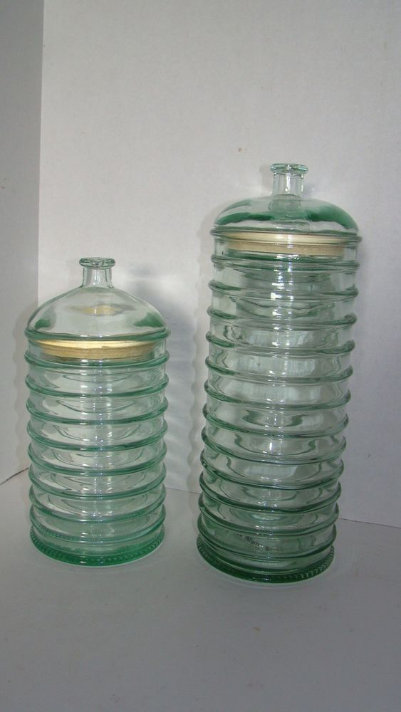 Pair Of Green Recycled Gl Canisters Storage Jars Made In Spain Lamediterranea
