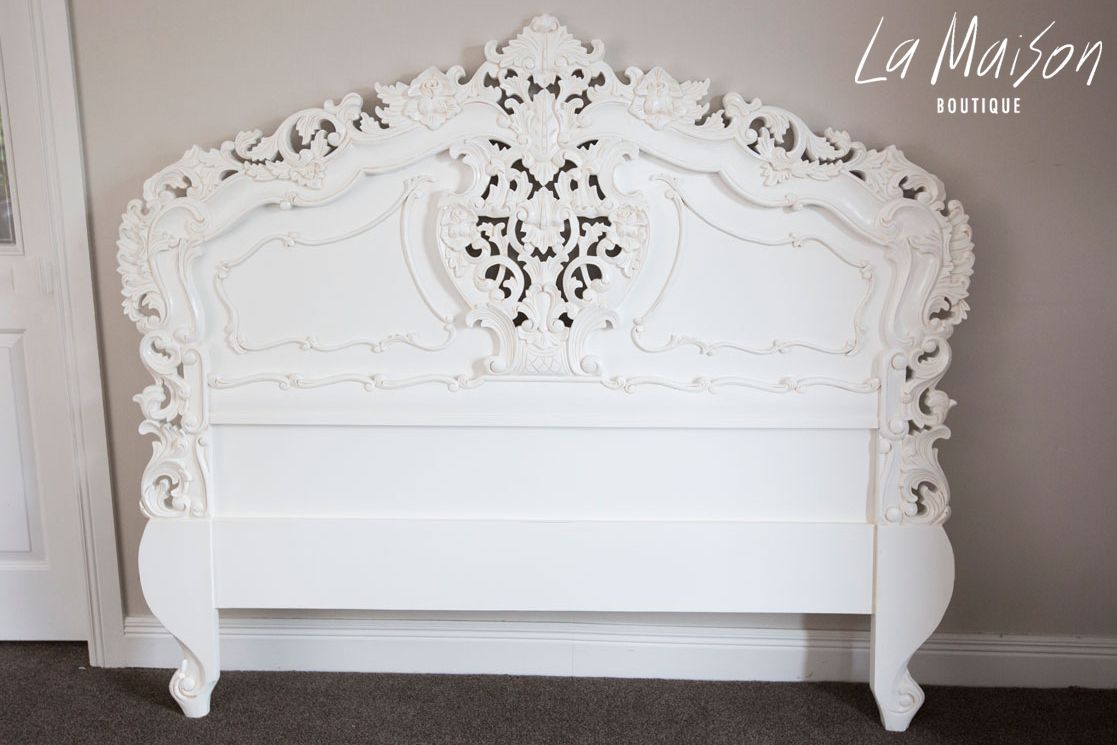 French Carved Headboard Antique White Queen La Maison