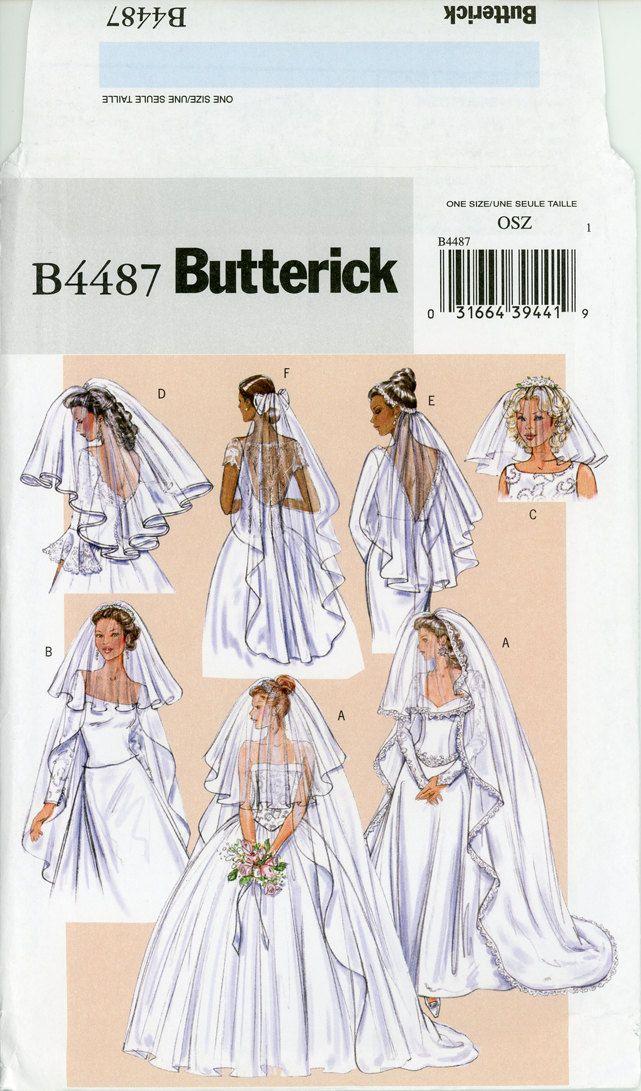 Bridal Veils Pattern Uncut Butterick B4487 Wedding Headpiece Blusher ...