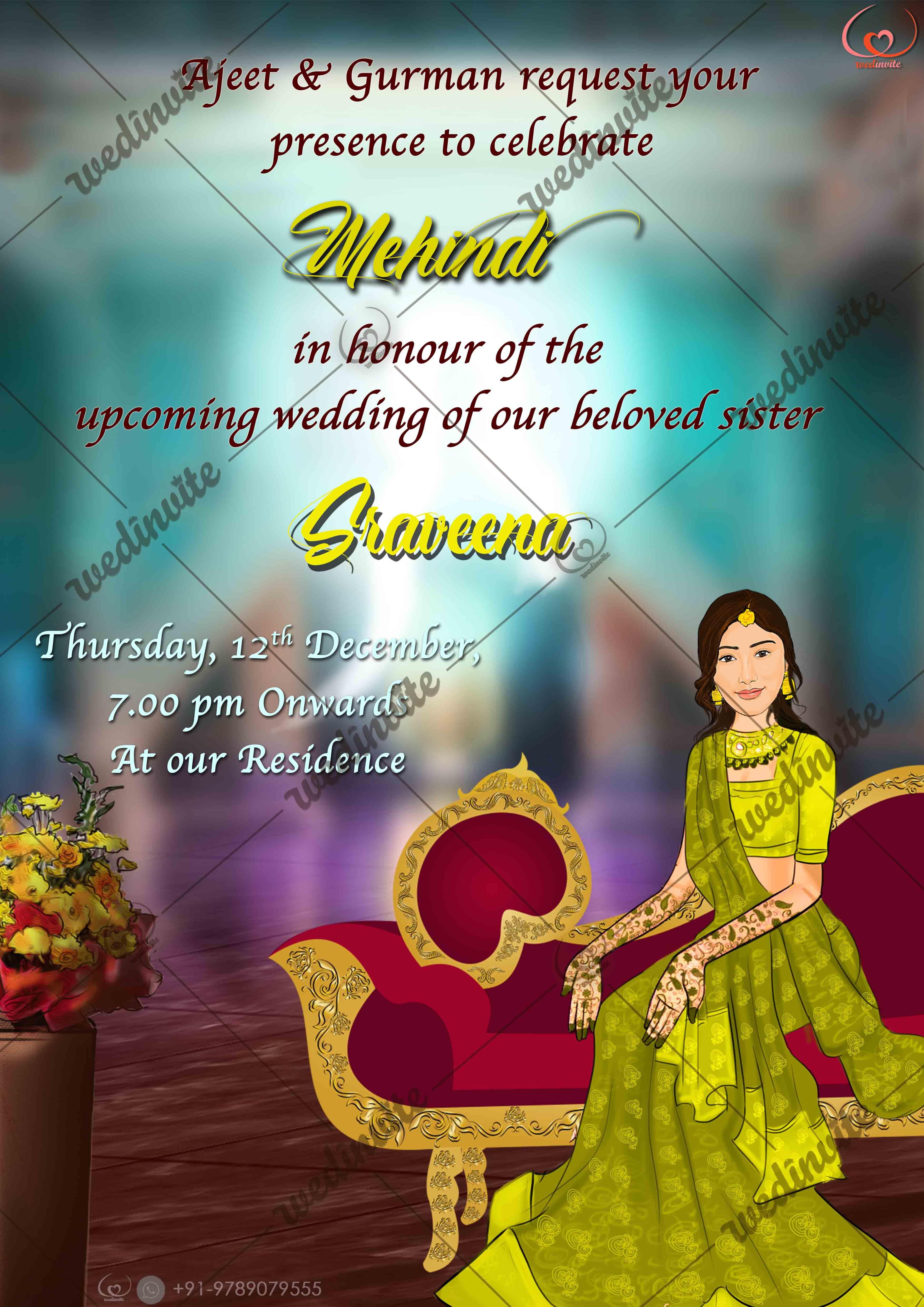 mehndiinvite  indian wedding invitation cards digital