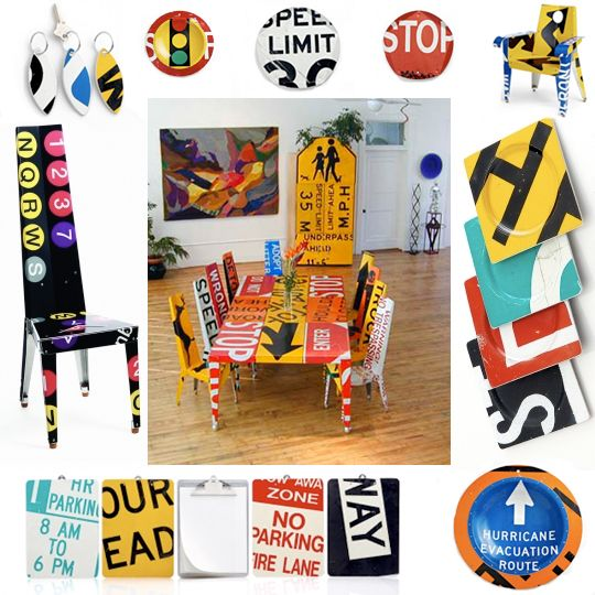 Road Sign Furniture And Home Accessories By Boris Bally Art - Road sign furniture