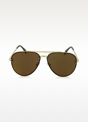 ac0a4f0ea962 MIRROR CL 41391/S J5GLC Black Acetate & Gold Metal Aviator Unisex Sunglasses  - Céline