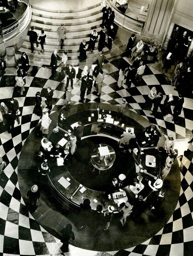 Art deco lobby set for Grand Hotel
