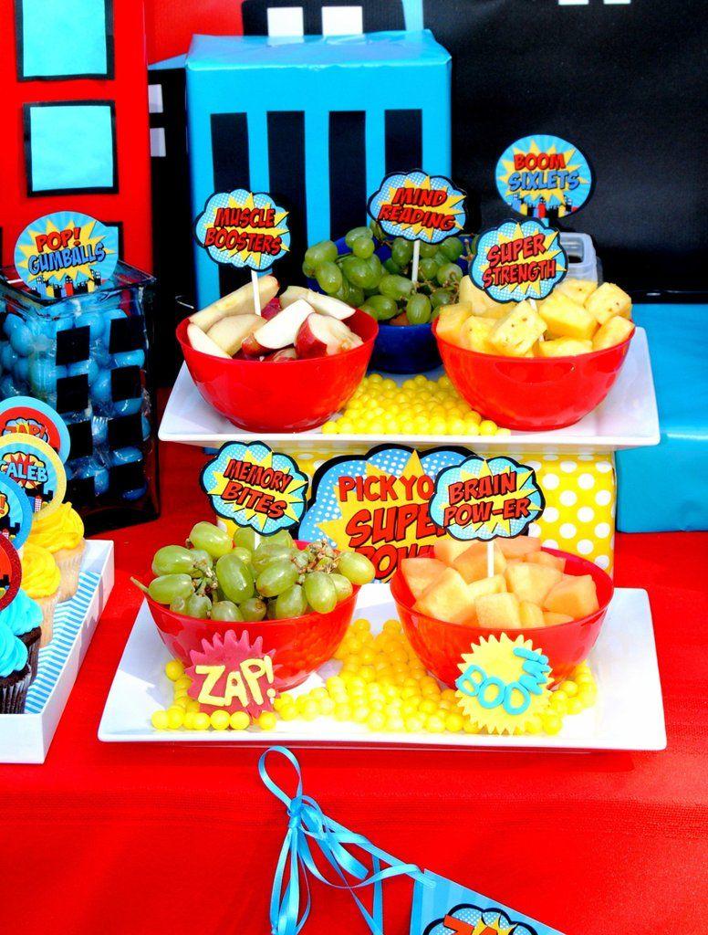 Superhero Party Comic Hero Party Superhero Birthday Food Labels