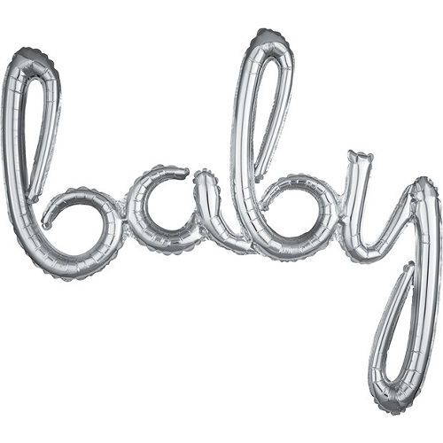 air filled silver baby cursive letter balloon banner 39in x 33in party city