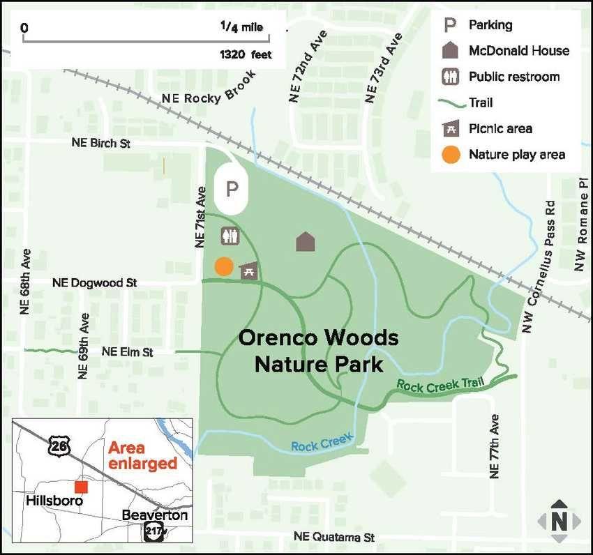 map of Orenco Woods Nature Park. Hillsboro Stick sculptures hiking ...