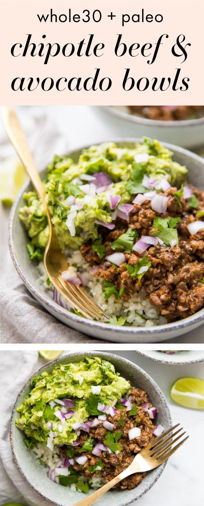 Photo of Whole30 Chipotle Beef & Avocado Bowls (Paleo Sofritas Copycat)