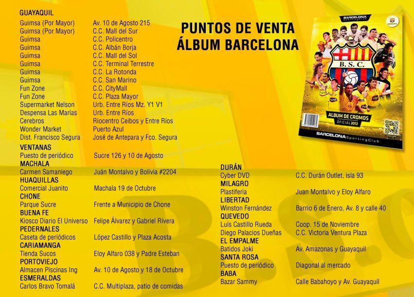 Puntos de Venta Albúm Barcelona para los que aún no lo tienen. Que esperan! =)