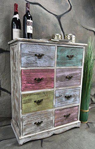 Kommode Schrank Mit 8 Schubladen Bunt Landhaus Shabby Chic Vintage