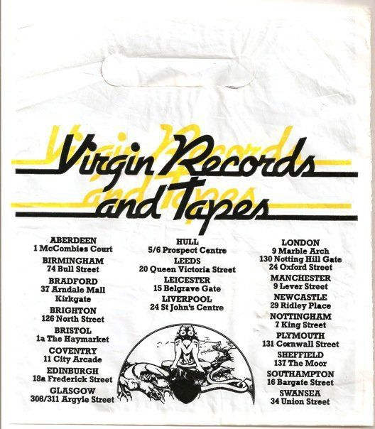 Virgin Singles Bag With List Of Stores Including North Street Brighton Vinyl Record Shop Vinyl Store Record Store