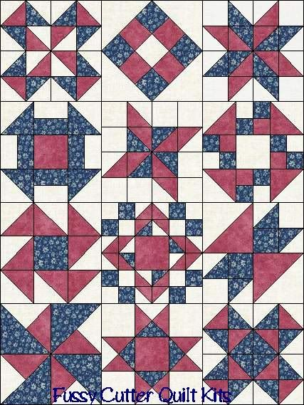 Quilt Patterns Using 12 Inch Squares : Sampler Blocks of the Month Your Choice of Colors Fabric Easy Pre-Cut Quilt Top Kit Quilts ...