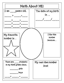 Here\'s a page for students to write about themselves and what they ...