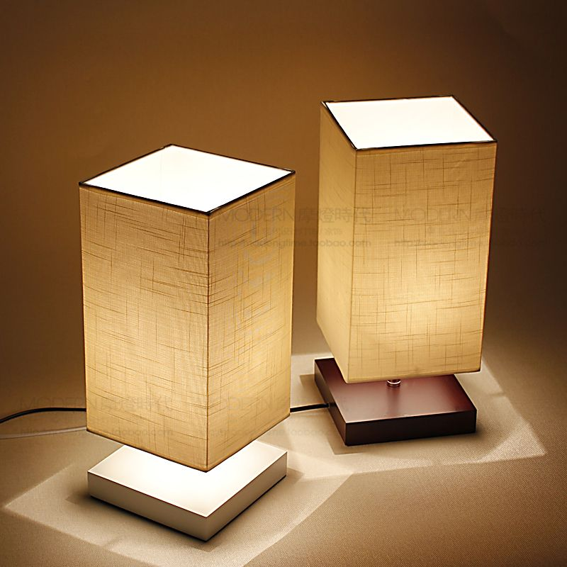 side lamps for living room crate and barrel chairs free shipping modern minimalist scandinavian style japanese chinese wood bedroom bedside lamp den decorative lights taobao