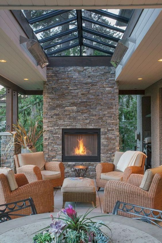 A Beautiful Outdoor Covered Custom Stone Fireplace Look At The