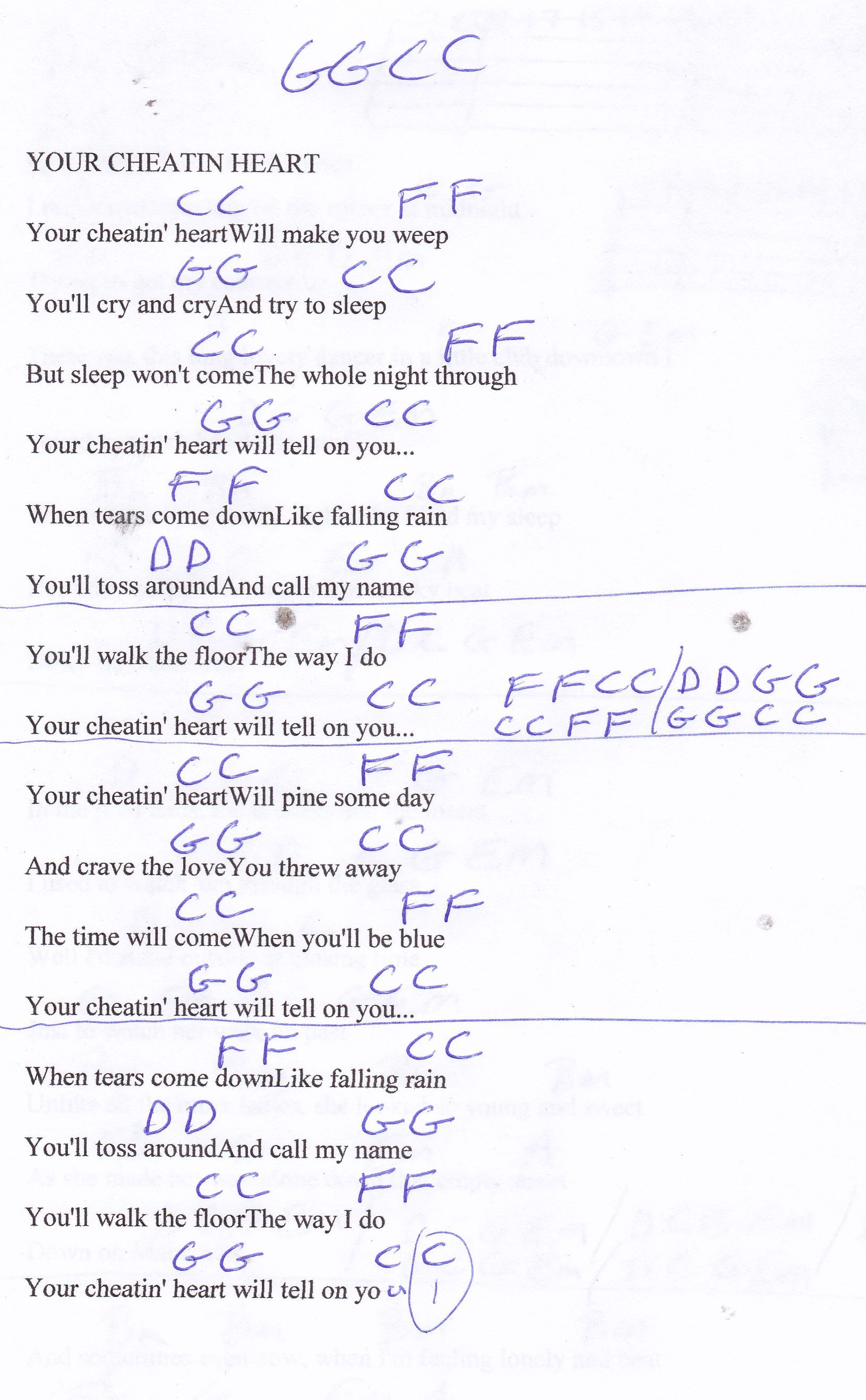 Your Cheatin Heart Hank Williams Guitar Chord Chart Cords And