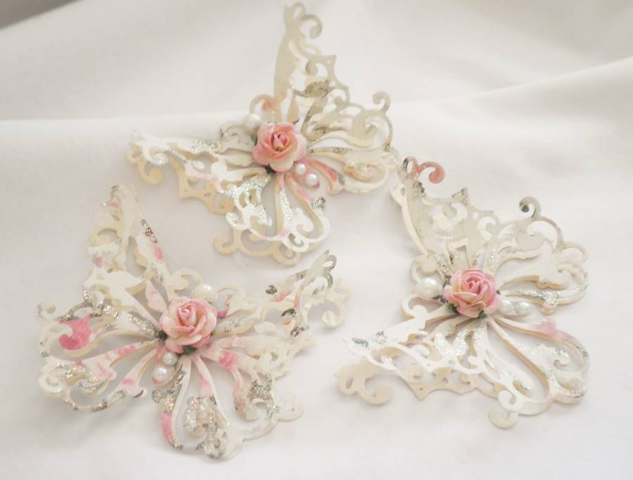 Handmade Shabby Chic Elegant Rose Butterflys By Becky Home Decor - Manualidades-shabby-chic