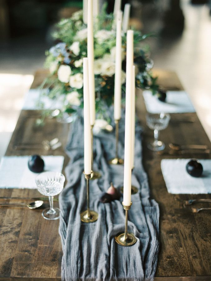 Simple silk runner and taper candle tablescape