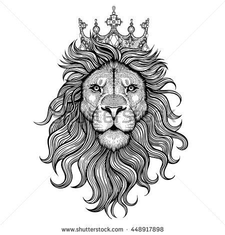 vector black and white tattoo king lion illustration art