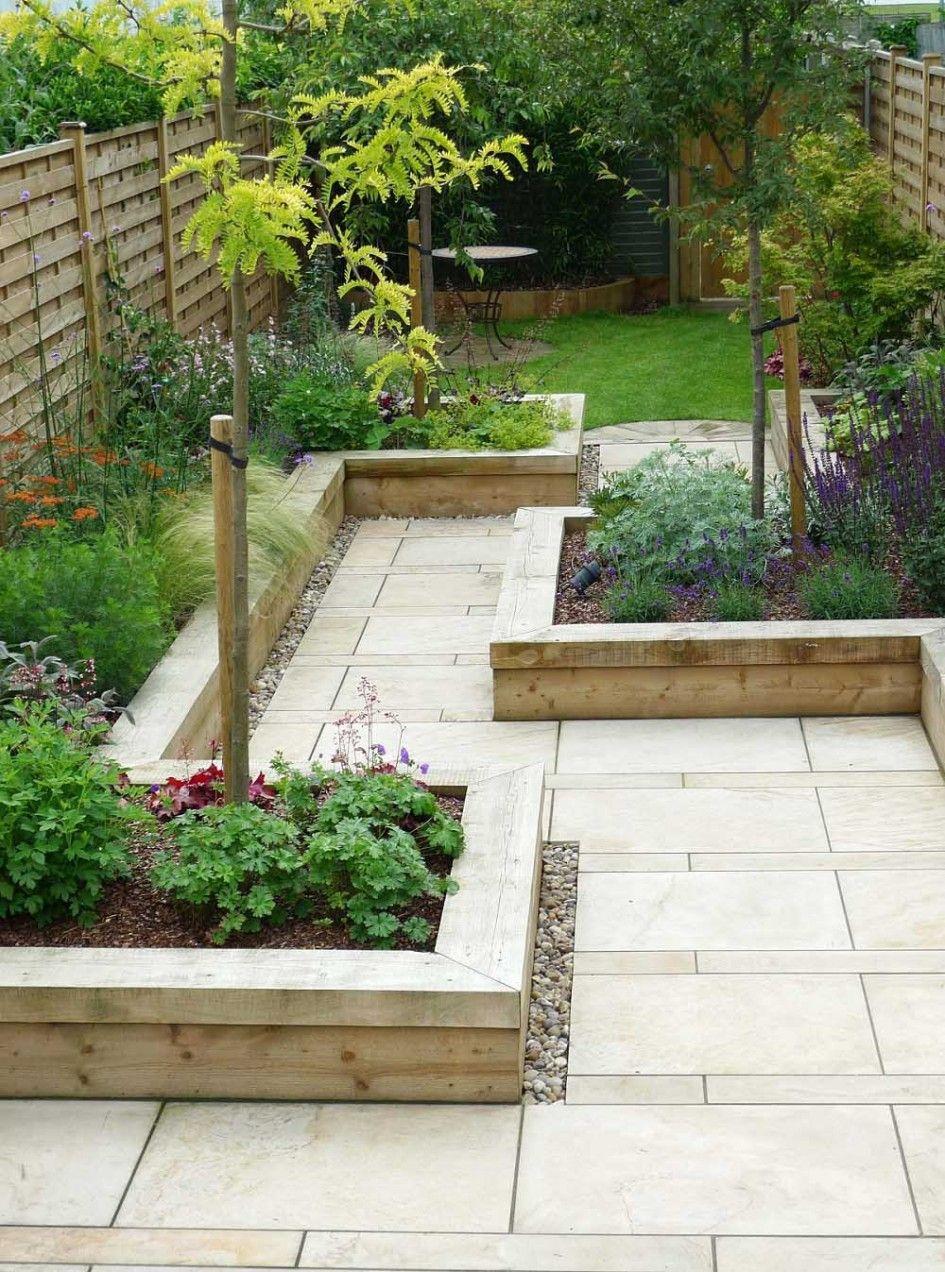 garden design, Minimalist Garden Design With Ceramic Floor