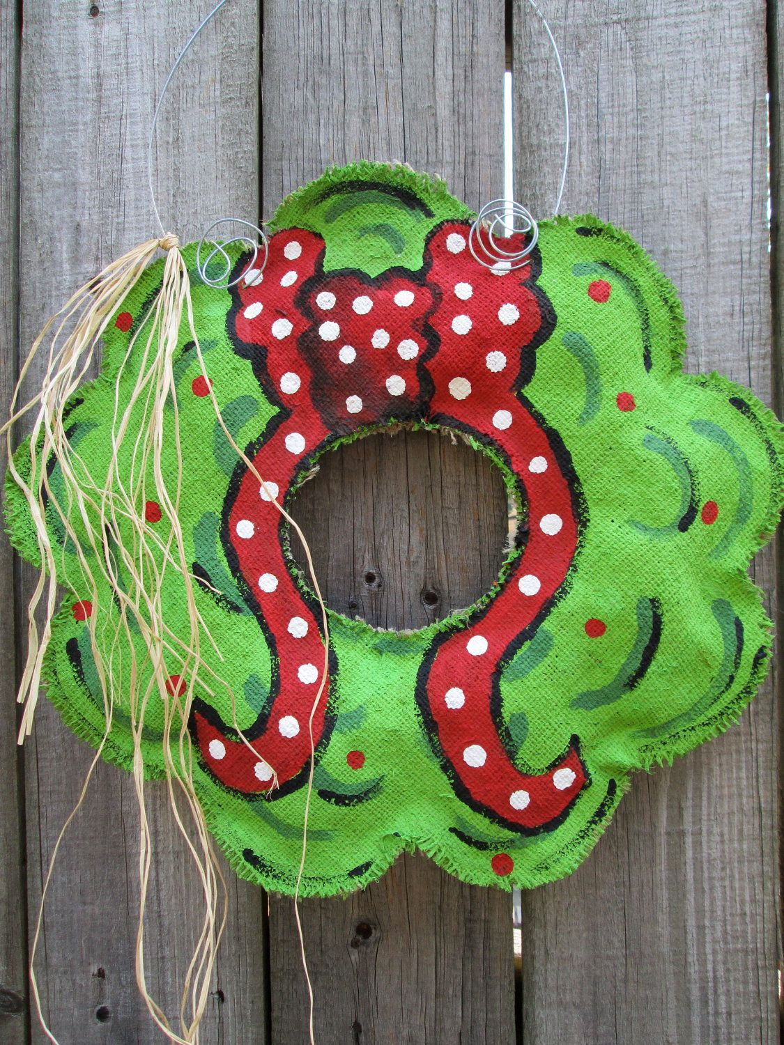 burlap christmas wreath with hand painted bow burlap door hanger 2800 via etsy - Burlap Christmas Door Decorations