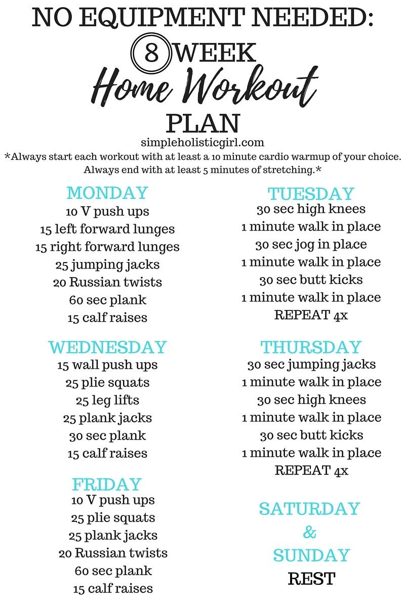 No Equipment Needed: 8 Week Home Workout Plan   Step By Step Instructions  On The