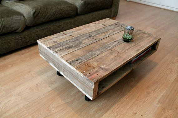 A Small Compact Pallet Coffee Table On Wheels By Gasandairstudios Small Coffee Table Small Wood Coffee Table Coffee Table With Wheels