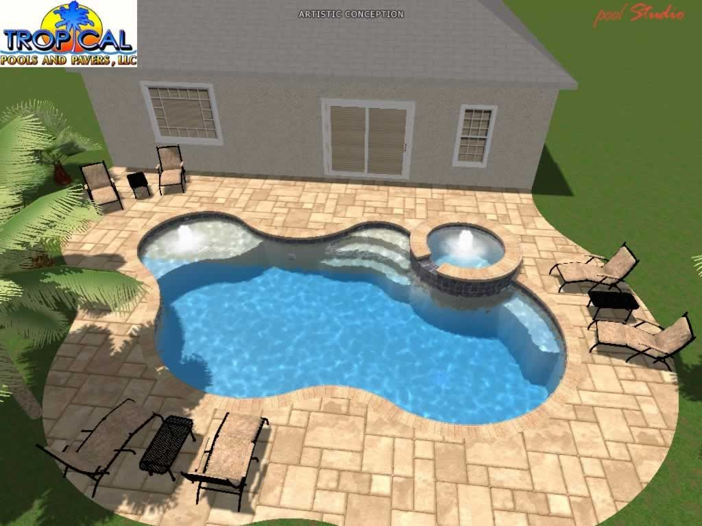 Tropical Pools And Pavers Professional 3d Pool Design With