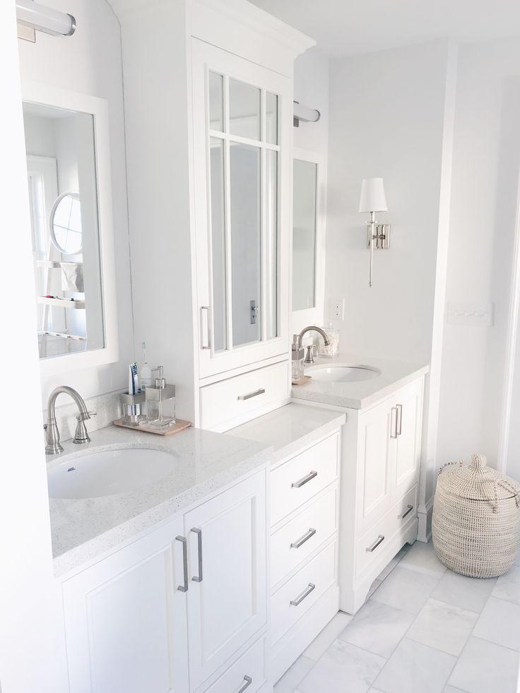 White Vanity With Tower Custom Look For Less White Master Bathroom Bathrooms Remodel Custom Bathroom Vanity