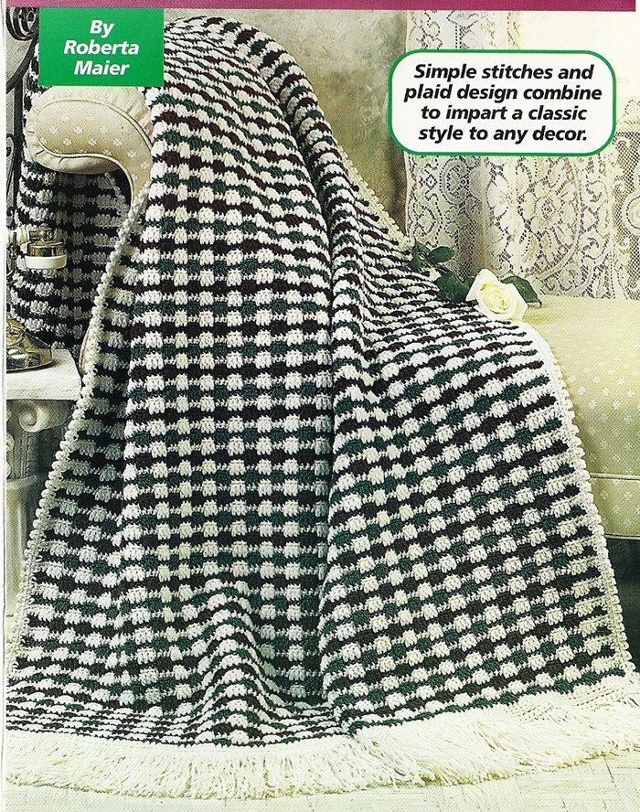 Victorian Plaid Afghan Crochet Pattern Blanket Throw Home Decor P