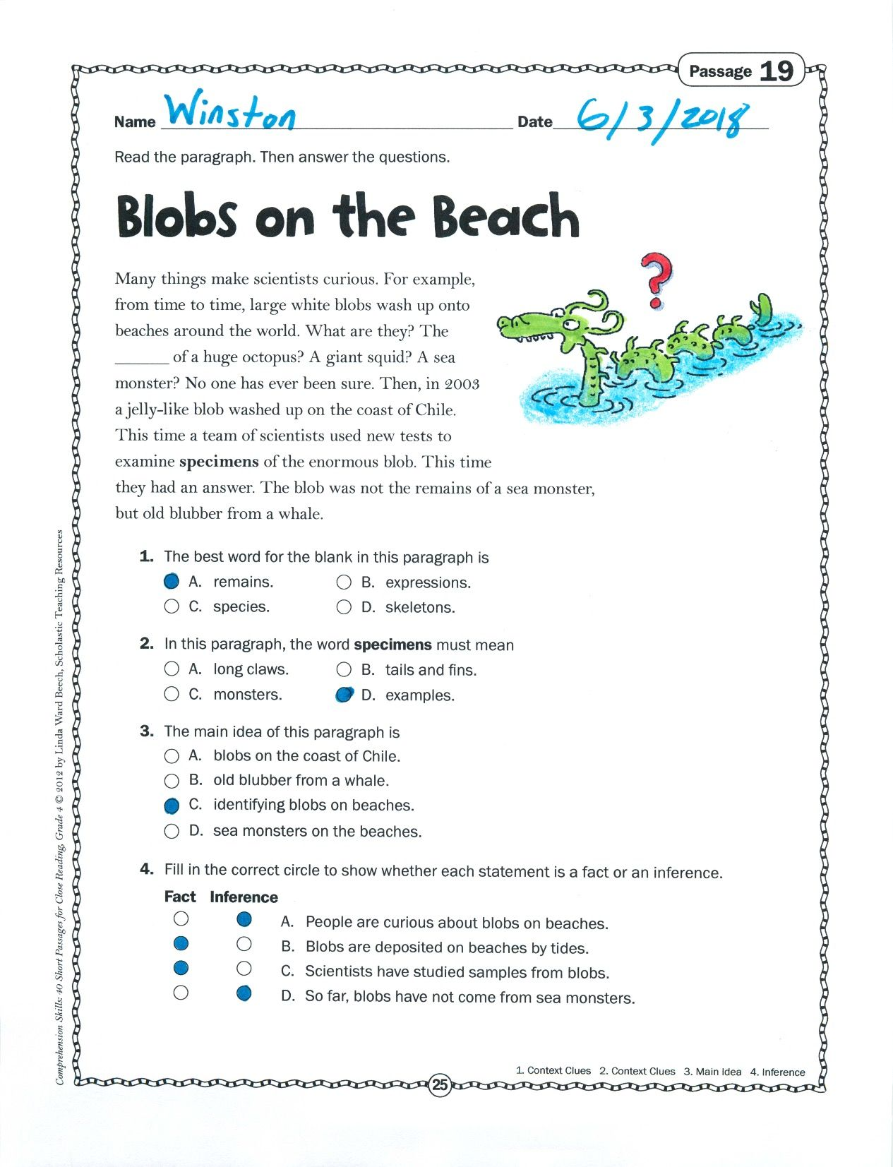 Students Will Be Fascinated By This Nonfiction Text About Strange Blobs That Wash Up On The B Nonfiction Texts Kindergarten Reading Worksheets Reading Passages [ 1653 x 1265 Pixel ]
