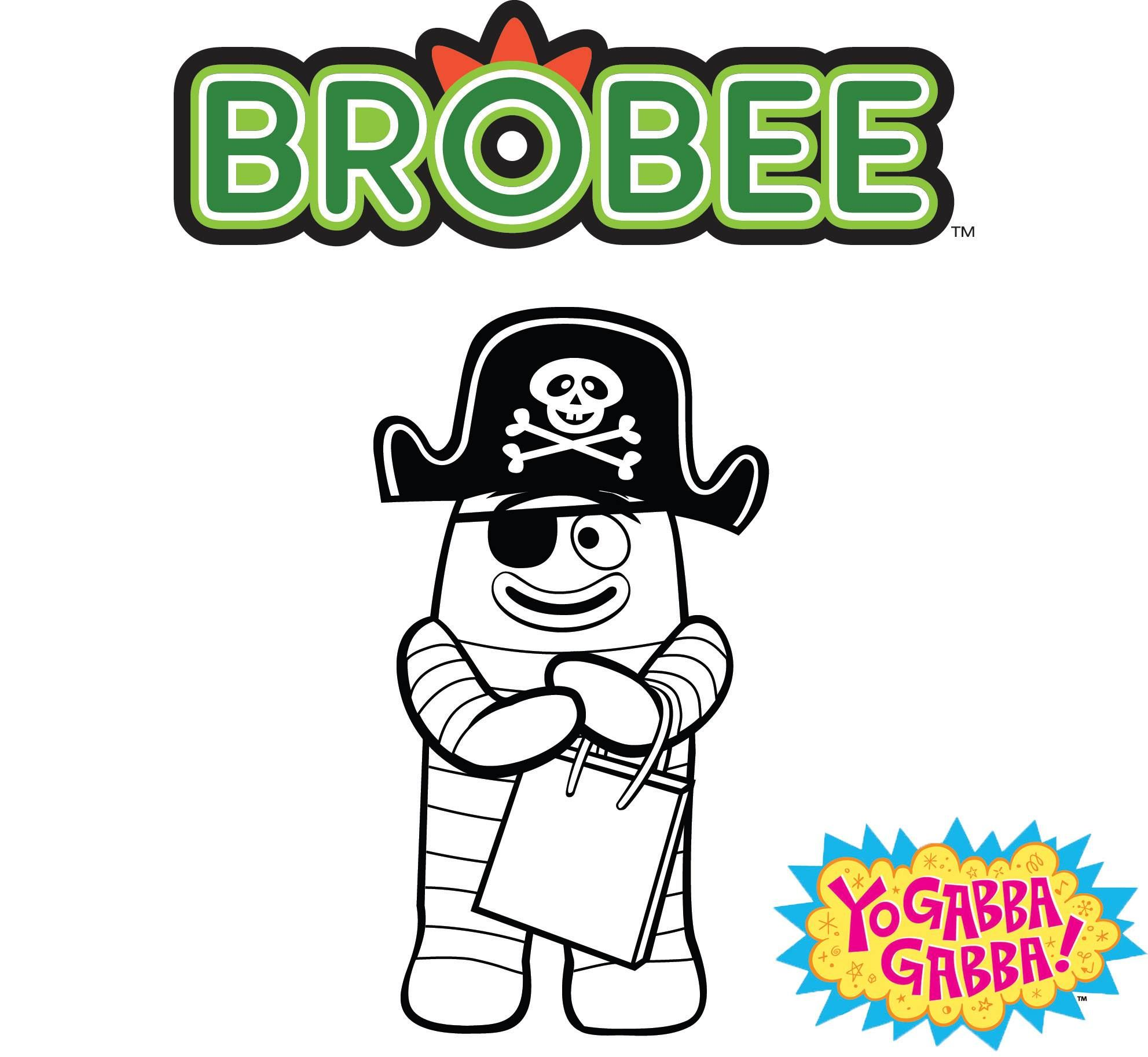 Coloring pages yo gabba gabba - Gabba Gabba Color Pirate Brobee Kids Coloringcoloring Pagesyo