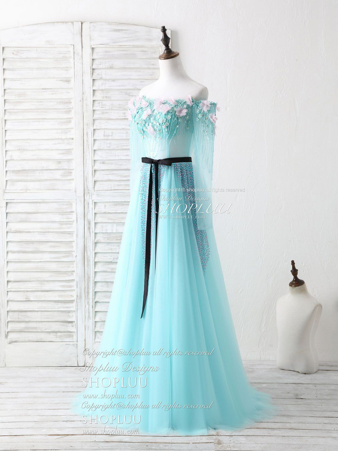 Green tulle beads long prom dress green beads evening dress in