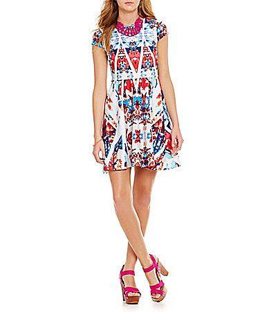 B Darlin CutOut Back Printed Dress #Dillards