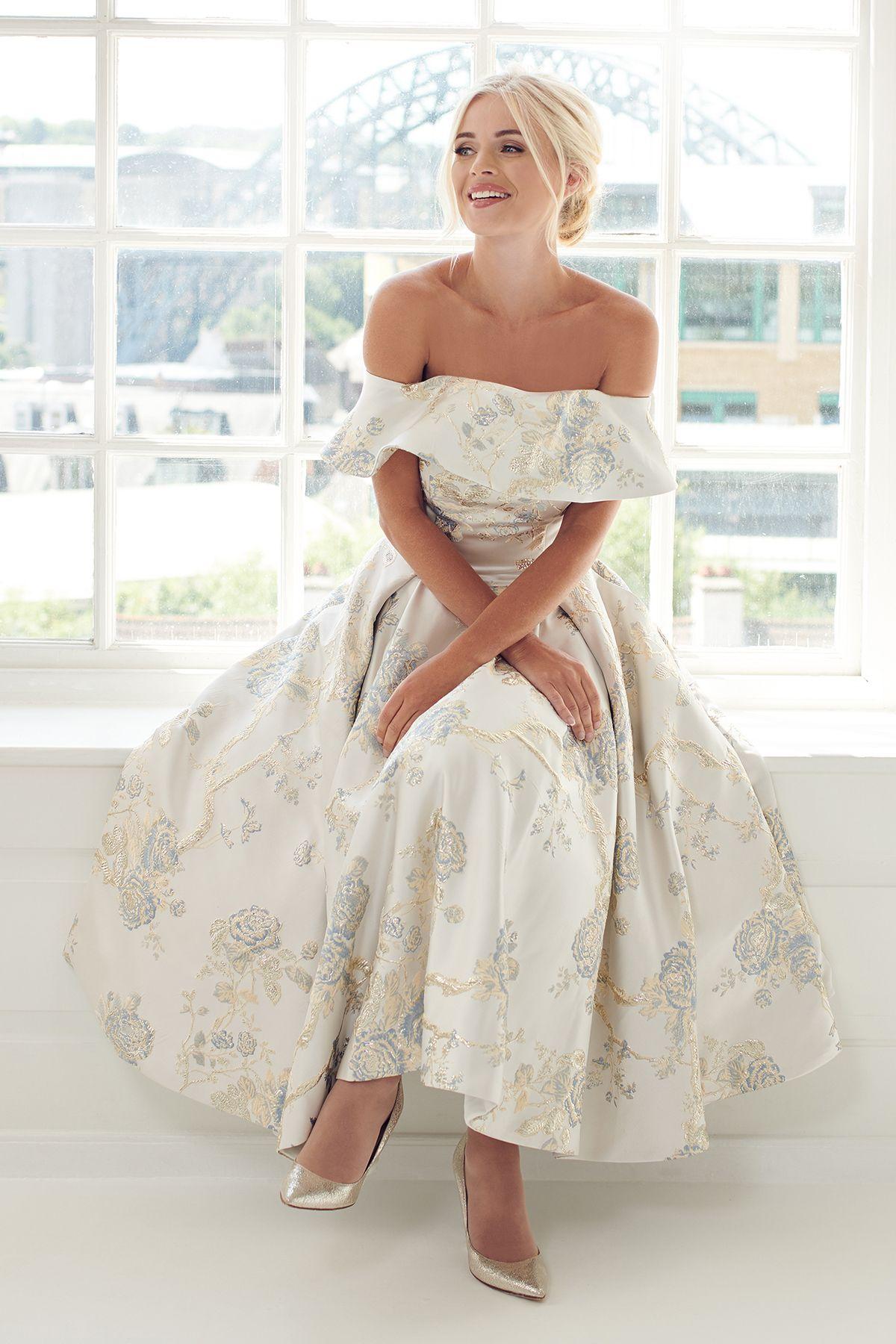 Margaret Floral Tea Length Dress Modern Short Wedding Dress Simple Wedding Dress Short [ 1800 x 1200 Pixel ]