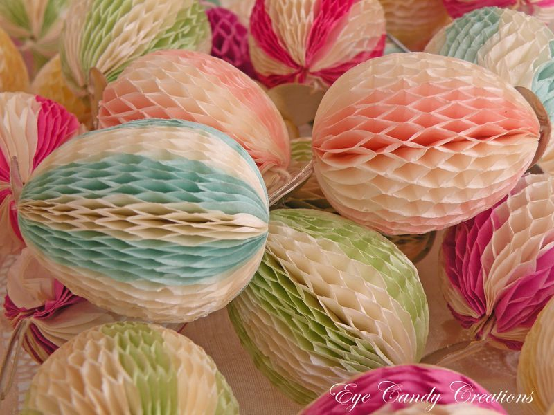 honeycomb paper egg garland - love these!