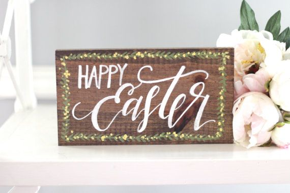 Happy Easter Sign Decor Rustic Wooden Farmhouse Home Wall Art