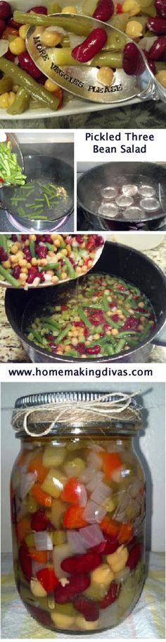 Learn How To Bottle Pickled Three Bean Salad If You Bottle This Recipe In 1 2 Pint Jars Its A Perfect Meal To Take To Work Canning Recipes Bean Salad Recipes